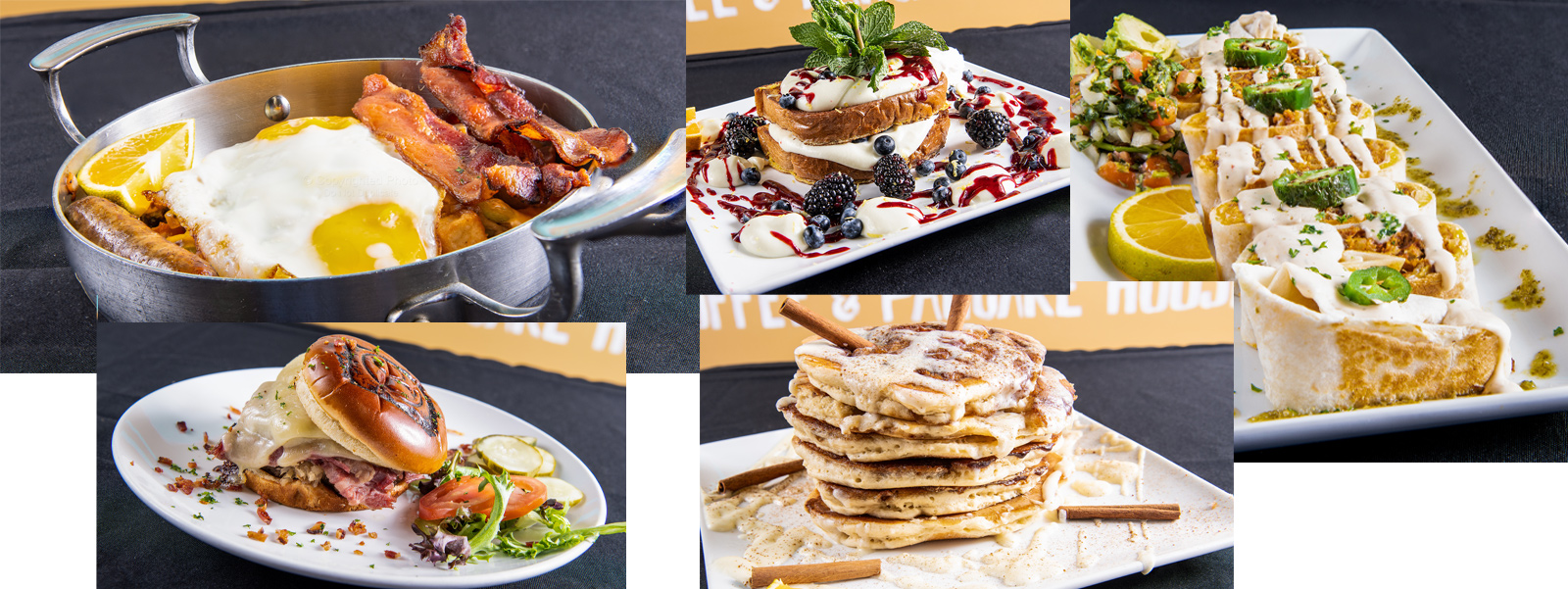 Collage of photos showing the range of food at QC Coffee and Pancake House, including cinnamon roll pancakes, breakfast burgers, wraps, and more